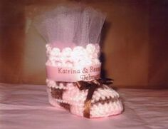 Pink And Brown Crocheted Baby Booties For Baby Shower