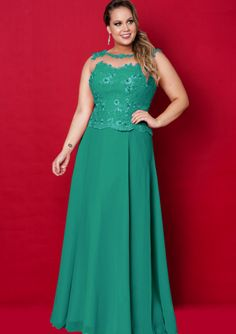 Green Round Neckline Embroidered Bodice Chiffon Long Plus Size Evening Dress / Prom Dresses/ Mother of The Bride Dresses
