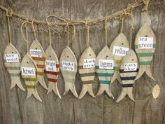 Hanging Painted and Distressed Wood Fish on Rope by ShoreWoodBay