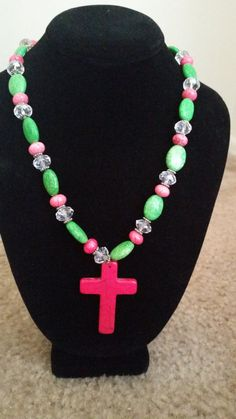 Lime green and pink cross necklace on Etsy, $20.00