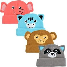 An adorable way to keep the little ones' heads warm! These animal face infant hats are the perfect one-size-fits-most solution to making sure their hears and ears stay warm. Assorted among elephant, r