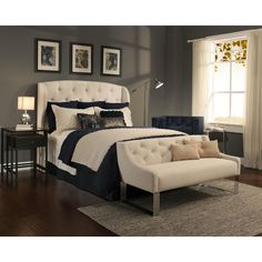 The Archer Headboard and Tufted Sofa Bench Set in a beautiful cream has a button tufted design that allows you to create an elegant, yet comfortable, look for your bedroom. The Archer headboard is thi
