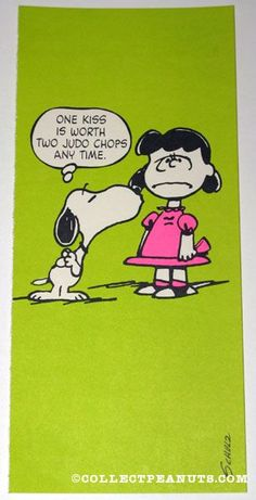 Snoopy kissing Lucy 'One kiss is worth two judo chops any time' Postcard  Hallmark