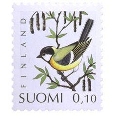 Postimerkki: Lintuja - Talitiainen | Suomen postimerkit