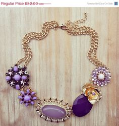 ON SALE Purple Statement Necklace, Bridesmaids Necklace, Flowers, Lilac, Lavender, Bib Necklace, Anthropologie Inspired on Etsy, $28.80
