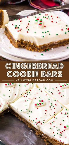 Spiced Gingerbread Cookie Bars are soft and chewy and just melt in your mouth. Top with a fluffy cream cheese icing for a delicious Christmas dessert. via desserts Spiced Gingerbread Cookie Bars Köstliche Desserts, Holiday Desserts, Holiday Baking, Holiday Treats, Holiday Recipes, Christmas Dessert Recipes, Holiday Bars, Best Christmas Recipes, Christmas Snacks