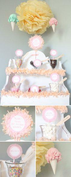 Ice cream themed birthday party (ice cream buffet)