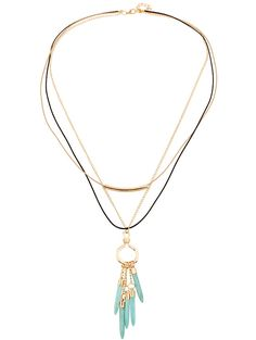 Multilayer Faux Turquoise Tassel Necklace #women, #men, #hats, #watches, #belts, #fashion, #style