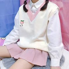 Cute Peach Vest Sweater ●Size: ●Material:Soft Cotton ●About Shipping: time: business days. Cute Casual Outfits, Pretty Outfits, Girl Outfits, Fashion Outfits, Fashion Tips, Harajuku Fashion, Kawaii Fashion, Cute Fashion, Classy Fashion