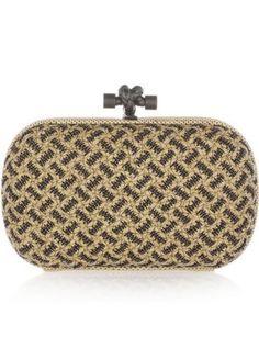 50 Dream Handbags: Bottega Veneta snakeskin-trimmed beaded intrecciato leather knot clutch, $2,100