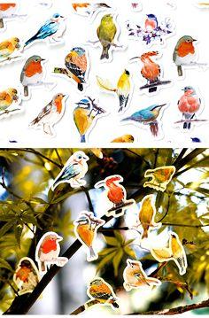 45 Pcs/Box Robins Birds Decorative Stickers Adhesive Stickers DIY Decoration Diary Stationery Stickers Children Gift-in Stationery Stickers from Education & Office Supplies on AliExpress Diy Stickers, Scrapbook Stickers, Planner Stickers, Decorative Stickers, Cute Diary, Robin Bird, Bird Patterns, Cute Birds, Travelers Notebook