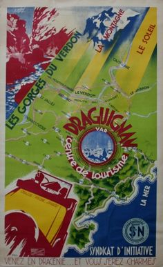 Draguignan, 1920s - original vintage poster by E Desous listed on AntikBar.co.uk
