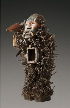 """Another Nkondi """"nail fetish"""" totem that I found particularly impressive. Found Object Art, Art Object, African Masks, African Art, Art Afro, Sculptured Nails, African Sculptures, Art Premier, Effigy"""