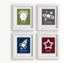 These prints made me fall in love with the outer space nursery idea. We are plannning on getting them but in alternate colors - rocket in red, star in yellow, planet in dark blue, alien in light blue