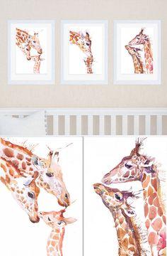 Giraffa Nursery Art Set di 3 stampe giraffa pittura di ValrArt