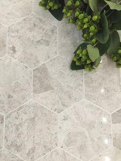 Gorgeous marble look porcelain hexagon tile series!