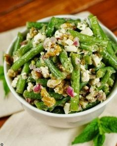 Fresh Green Bean, Walnut, Feta Salad
