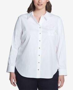 TOMMY HILFIGER PLUS SIZE LOGO-EMBROIDERED SHIRT, CREATED FOR MACY'S. #tommyhilfiger #cloth #