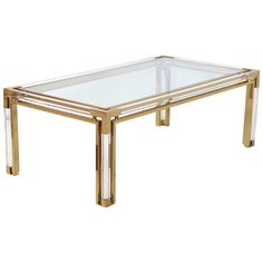 Superb French Gilt Brass  Lucite Coffee Table