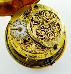 """""""Boisson, London"""" (Etienne Boisson, examples signed either """"London"""" or """"Geneva""""), nearly """"oignon"""" size watch in early to mid 18th-century Swiss style, probably cased in England, the mvt either made in or imported to London if Boisson ever spent time there, or more likely made in Geneva for London market where it was sent for casing."""