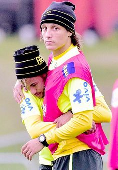 "Neymar - ""I love you babe"" Davud Luiz - ""Okay okay the cameras are looking, not now"""