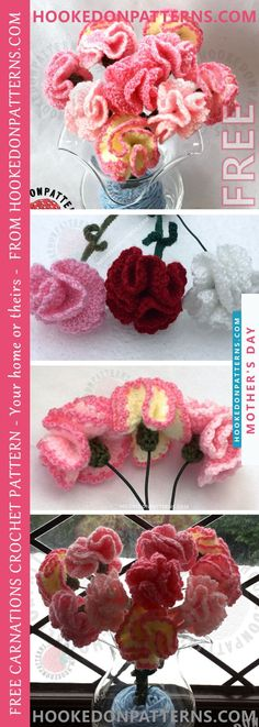 FREE CROCHET FLOWERS PATTERN FOR CARNATIONS - Carnations are the traditional flower for Mother's Day in many countries around the world. Theyexpress love, fascination, and distinction, making them the perfect Mother's Day gift.
