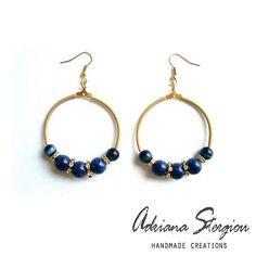 Hoop earrings with glass beads and strass www.jewelmyday.gr  www.jewelmyday.eu