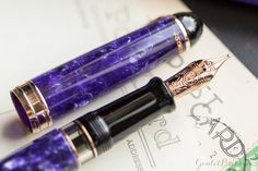 This purple fountain pen is equipped with 18kt rose gold accents. The Aurora 88 Nebulosa is a stunning new fountain pen available at Goulet Pens. Pin for later.