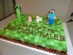 Minecraft cake - Marble cake with chocolate mousse filling. Decorated in fondant and gumpaste.