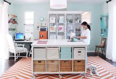 DIY IKEA island - made from 2 Kallax Shelves, 6 sets of Kallax caster wheels, and 2 Linnmon table tops