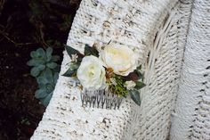 This lovely hair comb features white/ cream faux flowers with artificial greenery on 10 prong metal comb Approx measurements Not incl comb: 4 inches wide 2 inches high This comb would be perfect for your wedding day, photo shoots, Hens nights, birthdays or any other celebrations ♥ Take a peek at Flower Crowns, Flower Hair, Flowers In Hair, Purple Flowers, White Flowers, Faux Flowers, Dried Flowers, Metal Comb, Floral Headpiece