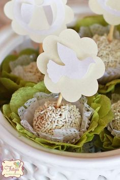 Dove topped treats at a baptism party! See more party planning ideas at CatchMyParty.com!