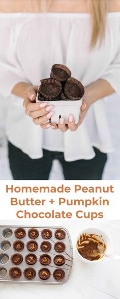 Peanut Butter and Pumpkin Dark Chocolate Cups - A Beautiful Mess Homemade Peanut Butter Cups, Peanut Butter Recipes, Homemade Candies, Dark Chocolate Almonds, Chocolate Cups, Oreo, Fall Snacks, Food Obsession, Sugar And Spice