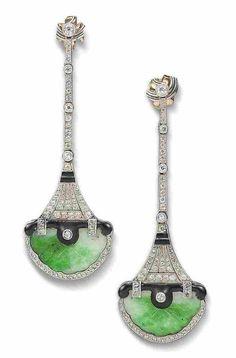 A pair of enamel, jade and diamond pendent earrings - ca. 1920.