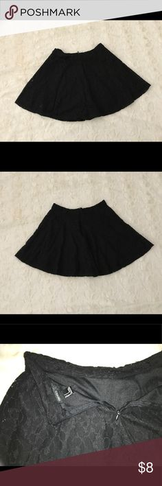 Black lace mini skirt Black lace mini skirt with black zipper in the back in very good condition Forever 21 Skirts Mini