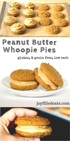 Peanut Butter Whoopie Pies. Two tender cakey cookies saTwo tender cakey cookies sandwiched with peanut butter buttercream frosting. Low Carb, Grain Free, Gluten Free.