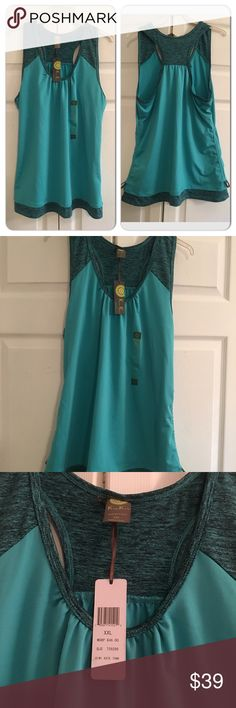 Kiwi Kate Teal Sports Tank XXL Great sportswear tank! Pretty teal color with ruching adjustable sides. New with tags Kiwi Kate Tops Tank Tops