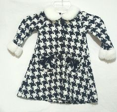 Girls Houndstooth Checker Dress Jacket with Faux Fur Trim Sz 3T #BlueberiBoulevard #FormalParty