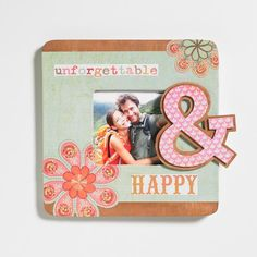 "Decoupage - Decoupaged Ampersand ""Happy"" Picture Frame"