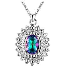 Oval Rainbow MysticTopaz In Vintage Style Silver Plated Pendant Necklace   eBay