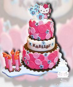 Fondant Swirls Hello Kitty - Cake by FaithfullyCakes Hello Kitty Fondant, Torta Hello Kitty, Hello Kitty Theme Party, Hello Kitty Themes, Kitty Party, 5th Birthday Cake, Happy Birthday Cakes, Birthday Ideas, Birthday Board