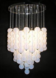 1980 Translucent White Murano Glass Pendant Chandelier