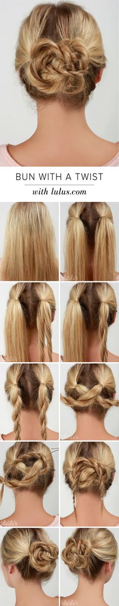 Lulus How-To: Brötchen mit einem Twist Hair Tutorial – Tutorial Per Capelli Side Hairstyles, Trendy Hairstyles, Beautiful Hairstyles, Professional Hairstyles, Goddess Hairstyles, Modern Haircuts, Ponytail Hairstyles, Summer Hairstyles, Wedding Hairstyles For Long Hair
