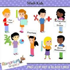 16 multicultural and unique children - each holding a math related sign or symbol. Each image is PNG and 300dpi in Black & White, colored with colored outlines and colored with black outlines
