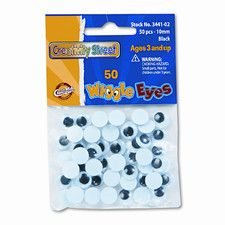 Round Black Wiggle Eyes, 10mm, 50 Pieces per Pack (Set of 4)