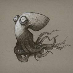 Octopus Art Print Art And Illustration, Octopus Illustration, Animal Drawings, Cute Drawings, Octopus Art, Arte Sketchbook, Animal Design, Art Reference, Cool Art