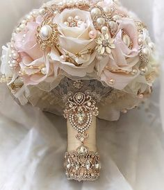 Custom Lush Blush Pink and Ivory with Gold and Rose Gold Bridal Brooch Bouquet Full Price is - $499.00 - Deposit to place a Custom Order is $299.300 - Balance p