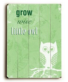 'Grow Wise Little Owl' Wall Art