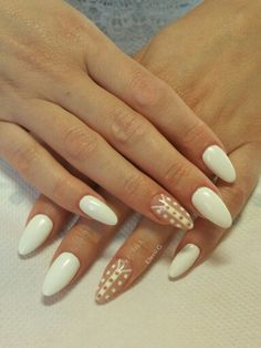 #white #acrylic #long #nails #almond #nailart