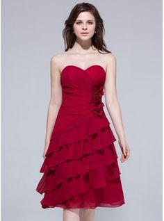 Wedding Guest Dresses - $122.99 - A-Line/Princess Sweetheart Knee-Length Chiffon Bridesmaid Dress With Ruffle Flower(s)  http://www.dressfirst.com/A-Line-Princess-Sweetheart-Knee-Length-Chiffon-Bridesmaid-Dress-With-Ruffle-Flower-S-007037263-g37263